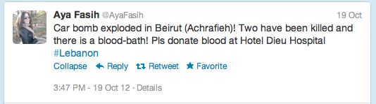 First tweet telling people to donate blood at 3:47PM